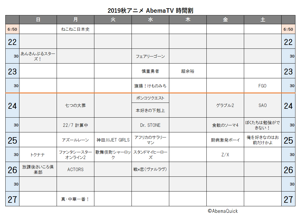 AbemaTVで配信される2019年秋アニメの時間割