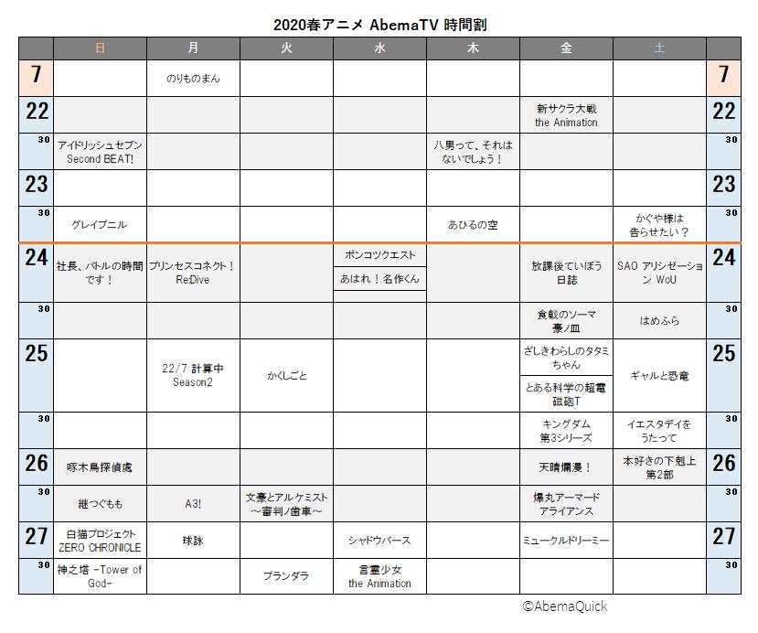 2020春アニメABEMA配信時間割