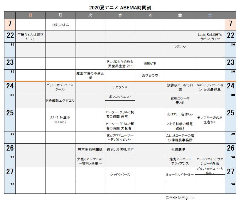 ABEMA2020夏アニメ時間割